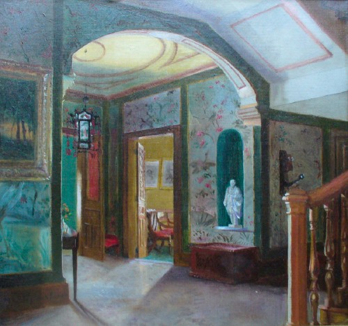 Late 19th-century oil painting of house interior, probably Fredonia of Milton