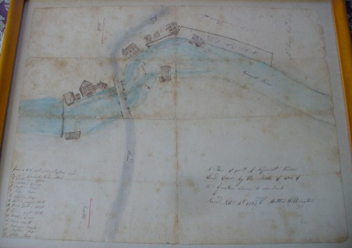 1793 plan of Lower Mills, Dorchester, by Mather Withington