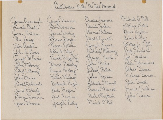 List of Contributors to the McNeil Memorial
