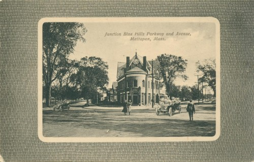 Junction of Blue Hill Parkway & Avenue postcard