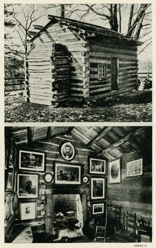 postcard of the Lincoln Cabin at the Forbes House Museum