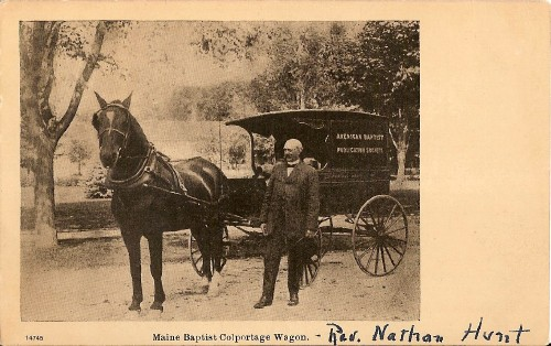 postcard of Maine Baptist Colportage Wagon with Rev. Nathan Hunt